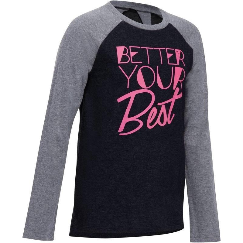 Avis   test - T-Shirt manches longues imprimé Gym fille gris ... 847c59fb9f3