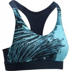 Brassière fitness cardio femme imprimés tropicaux bleus 500 Domyos