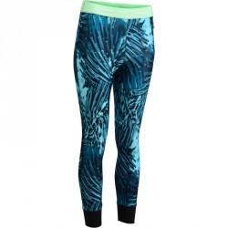 7/8 fitness cardio femme à imprimés tropicaux bleus 500 Domyos