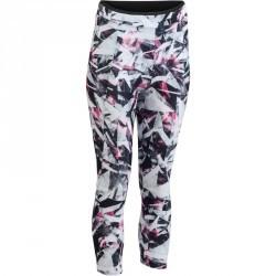 7/8 fitness cardio femme à imprimés géométriques blancs et roses 100 Domyos