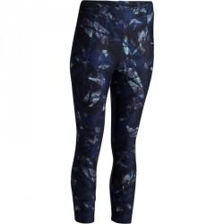7/8 fitness cardio femme à imprimés géométriques noirs et bleus 100 Domyos