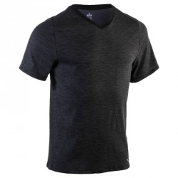 T-Shirt 520 regular col V Gym & Pilates homme noir printé