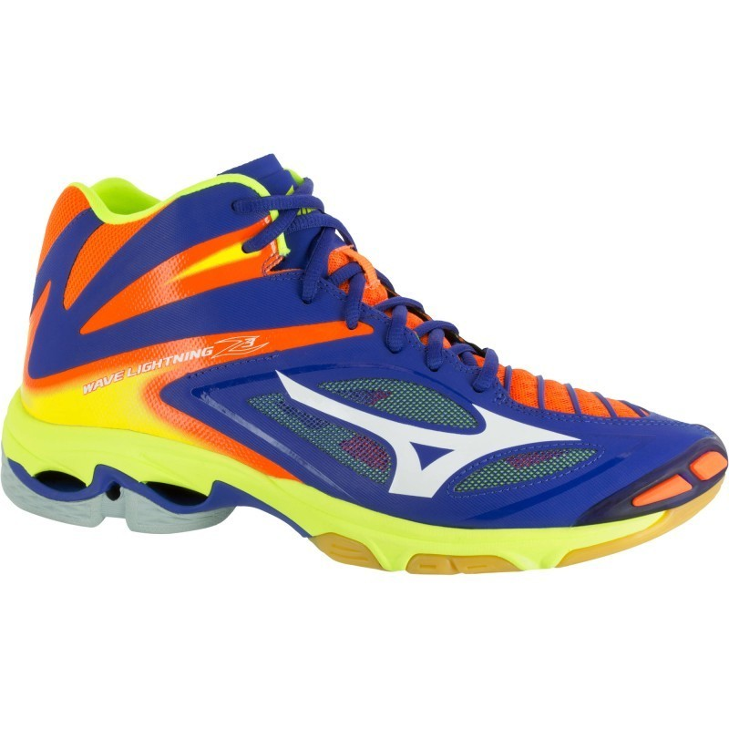 Chaussures de volley-ball homme Mizuno Wave Lightning blanches et bleues