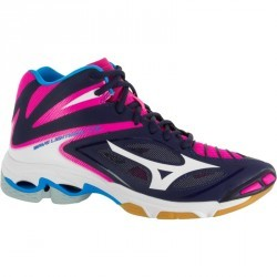 Chaussures de volley-ball femme Mizuno Wave Lightning bleues blanches et rose