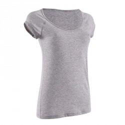 T-Shirt manches courtes slim Gym & Pilates femme gris chiné