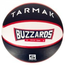 Ballon de basket enfant Wizzy Buzzard bleu blanc taille 5. Jusqu'à 10 ans