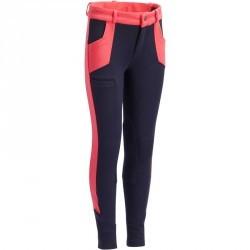 Pantalon équitation fille BR120 marine et rose