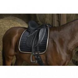 Tapis de selle EQUITHÈME -Mosaïque- - Couleur : noir/coloris or rose, Taille : cheval - dressage équitation