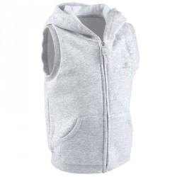 Veste chaude sans manches zippée capuche Gym baby gris