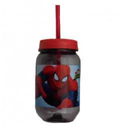 Gourde avec paille Spiderman verre plastique Disney GUIZMAX
