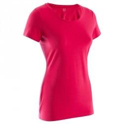 T-shirt coton elasthanne Athletee fitness Essentiel femme rose foncé