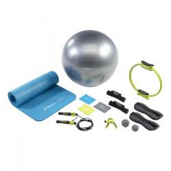 Kangui - Tapis et ballon de gym, 3 bandes élastiques, corde à sauter, haltères, lest, pilate, handgrip et balles massage - E