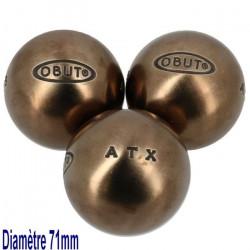 Boules de pétanque Atx  competition 71mm - Obut 680g Argent Métalisé
