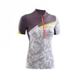 Tee shirt manches courtes perf trail running femme blanc gris violacé