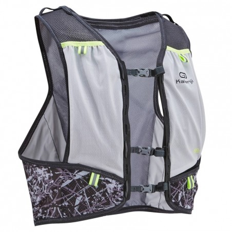 GILET TRAIL RUNNING 5L PORTE FLASQUES GRIS JAUNE