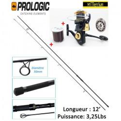 Ensemble Batterie Carpe Canne Prologic + Moulinet Distance 10 000 FD Millenium + Nylon 500m