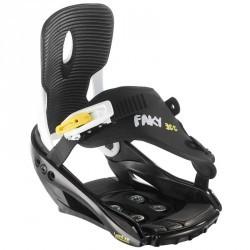 Fixations de snowboard, junior, Faky 300  noires, blanches et jaunes