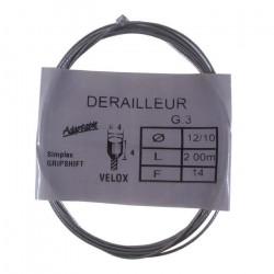 Câble de dérailleur VELOX vélo vintage SIMPLEX GRIPSHIFT acier 2 m 1.2 mm embout
