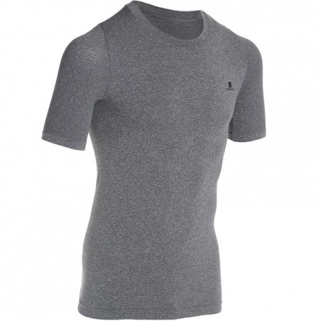 T-shirt compression fitness MUSCLE homme gris
