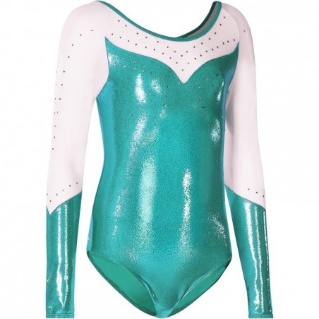 Justaucorps manches longues Gym Fille (GAF/GR) paillettes/strass/voile turquoise