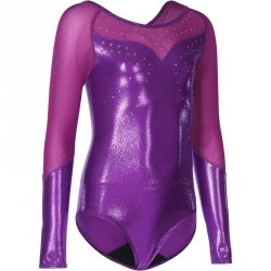 Justaucorps manches longues Gym Fille (GAF et GR) paillettes/strass/voile violet