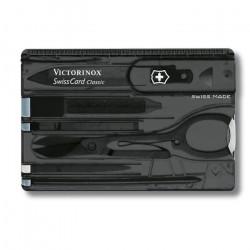 Couteau de poche Victorinox Carte suisse classique noire transparente 0.7133.T3B1 avec 10 fonctions dont ciseaux et stylo à bi