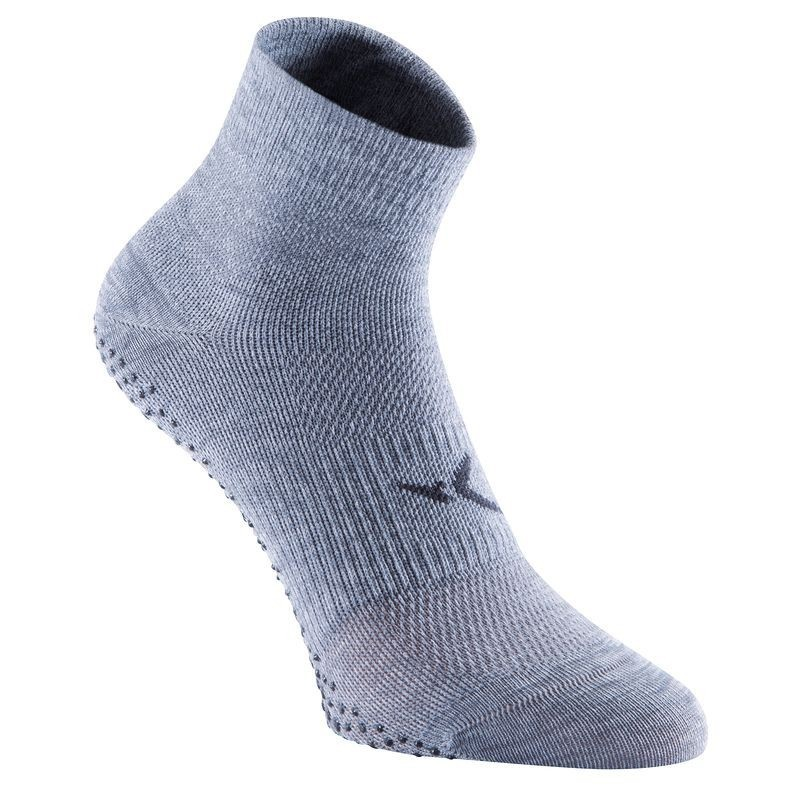Chaussettes antidérapantes fitness gris