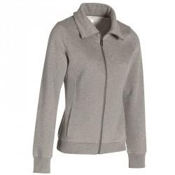 Veste sans capuche Gym & Pilates femme gris chiné moyen