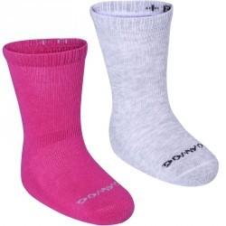 Lot de 2 paires de chaussettes antidérapantes Bébé Gym rose/gris chiné
