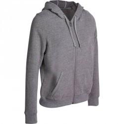 Veste capuche zippée Gym & Pilates femme gris chiné