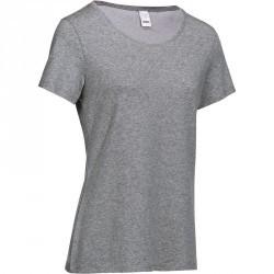 T-Shirt manches courtes régular Gym & Pilates femme gris chiné moyen