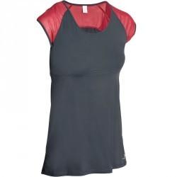 T-shirt galbant SHAPE+ fitness femme gris et rouge
