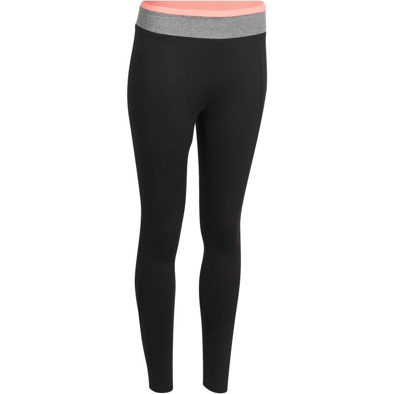 Legging fitness cardio femme noir ceinture contrastée ENERGY