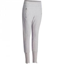 Pantalon molleton bas zippé Gym & Pilates femme gris chiné clair