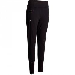 Pantalon molleton bas zippé Gym & Pilates femme noir
