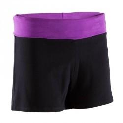 Short yoga coton bio femme noir violet