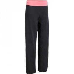Pantalon yoga femme coton issu de l'agriculture biologique gris chiné / corail