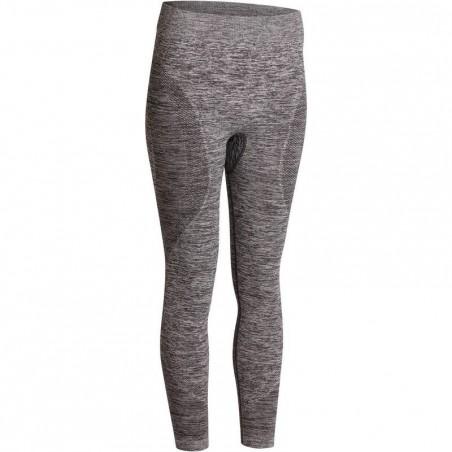Legging YOGA+ 500 sans couture femme gris chiné longueur 7/8