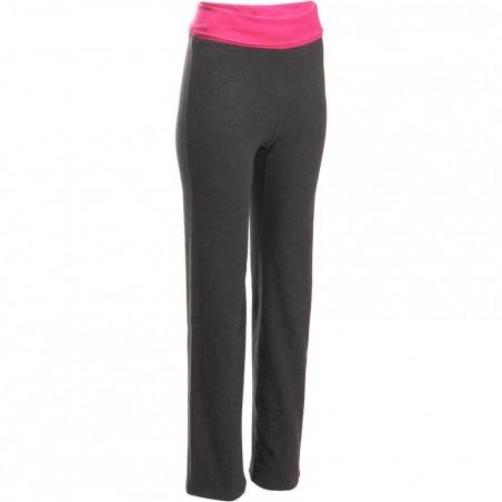 Pantalon yoga coton bio femme gris rose