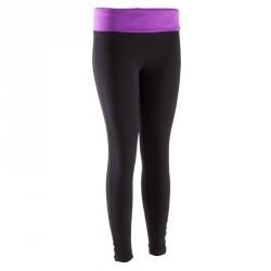 Legging yoga coton bio noir violet