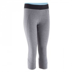 Legging 7 8 fitness cardio femme gris chiné ceinture contrastée ENERGY aaf6d87807dd