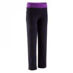 Pantalon yoga coton bio femme noir violet