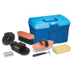 Kerbl Boîte de toilettage pour chevaux avec 7 accessoires Bleu 321775