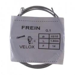 Câble de frein arrière VELOX vélo vintage ADAPTABLE acier 1.8 m 1.5 mm embout