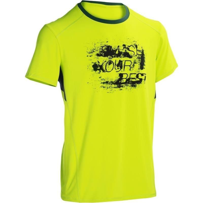 T-shirt fitness cardio homme jaune imprimé gris ENERGY
