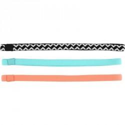 Bandeau élastique (lot de 3) fitness femme corail et turquoise