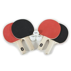 STIGA Recreational-Quality Classic Table Tennis Set for Family Play Includes 4 Rackets and 3 White 1-Star Balls (2 Player)