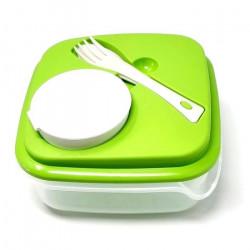 Boite repas Salade Couverts Sauce 1L Dejeuner Couvercle GUIZMAX