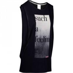 T shirt sans manche danse femme print noir
