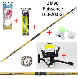 Pack pêche Mer / Surf Télescopique Complet, Prêt à pêcher